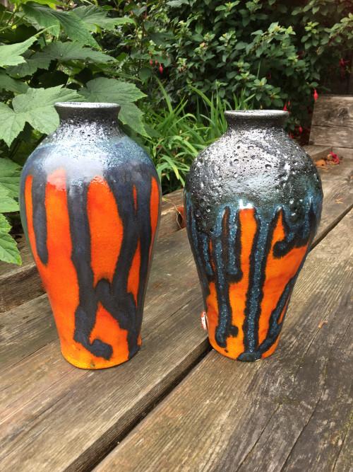 orange lava glaze ceramic vase