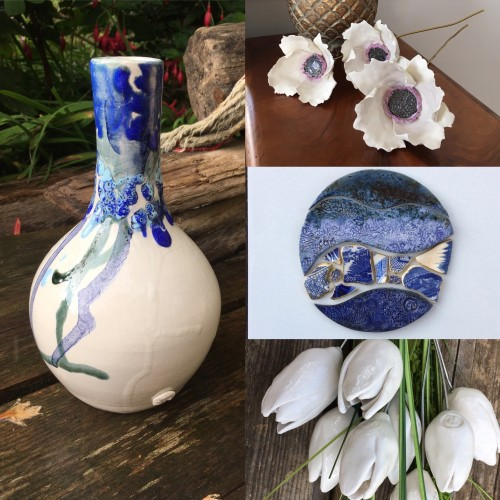 collection of ceramic vases and flowers in blue and white