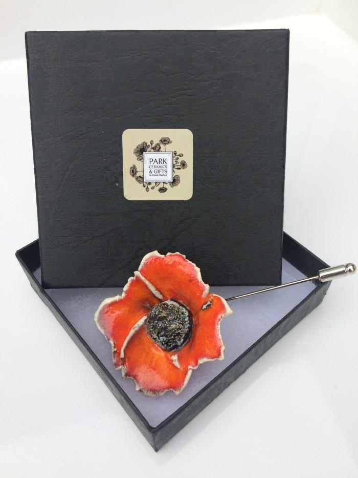 orange ceramic poppy lapel pin